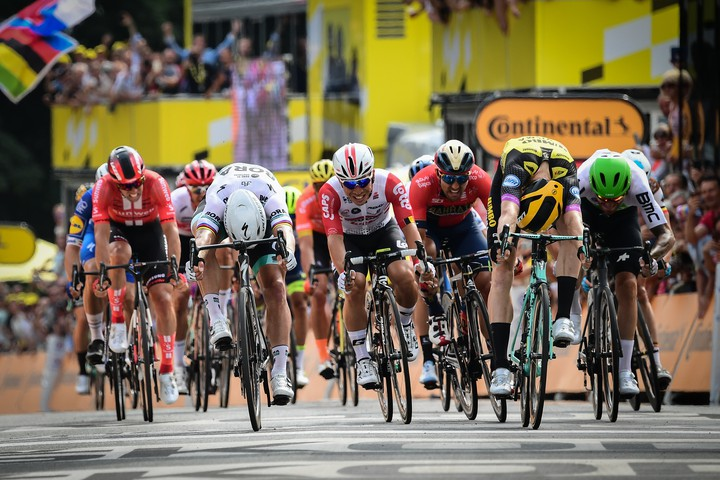 Tour de France arrivée des cyclistes