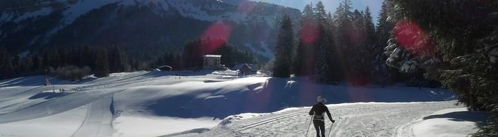 Skieur skating Col de Prte vue Chamechaude
